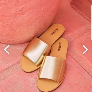 NEW Justfab Bea Slide Slippers Gold Champagne